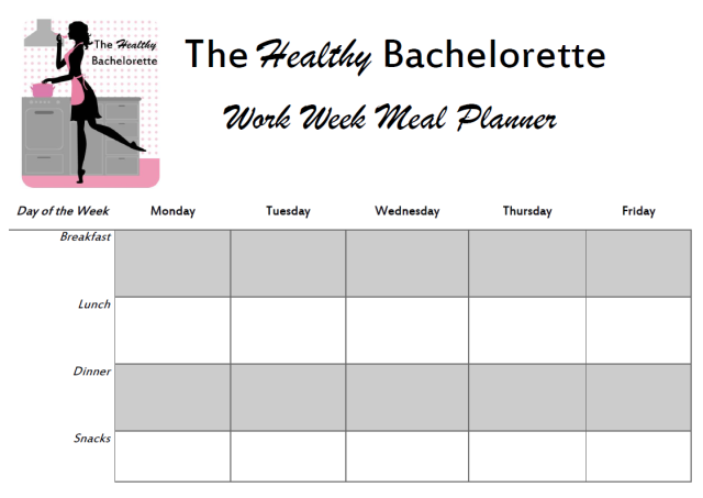 The Healthy Bachelorette: Work Week Menu Planner