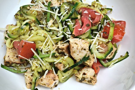 Pesto Zucchini Noodles with Grilled Chicken and Tomato