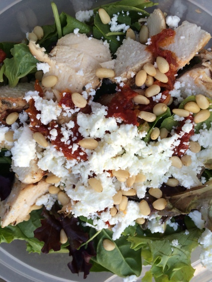 Goat cheese, Pine Nut and Sundried Tomato salad with Chicken