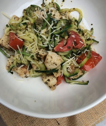 Pesto Zucchini Noodles with Grilled Chicken and Tomatoes