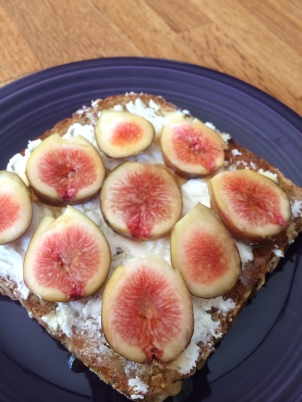Open faced fig, honey and goat cheese sandwich