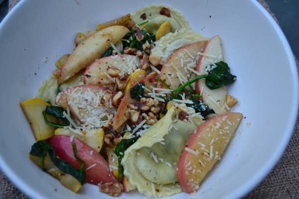 Spinach Ravioli with Apples and Pancetta