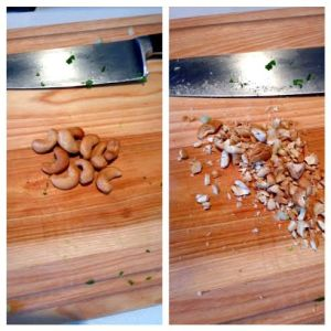 Chopped cashews! Feel free to add more or substitute with your nut of choice.